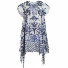 Blue Silk Ruffle Dress