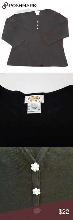 "Talbots Pure Silk Blend Black Sweater PL This black silk blend Talbots sweater is in great condition. Chest 19"" Sleeves 19 Shoulder to hem 22""  My home is smoke free and pet free. Talbots Sweaters"