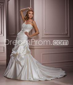 Fabulous Trumpet/Mermaid Sweetheart Floor-Length Chapel Beaded Wedding Dresses with Detachable Straps