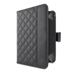 Belkin Quilted Case with Stand for Kindle Fire HD (Black).    Simply adjust the stand to your personal preference and sit back to read, watch films and video, or view any of your other favourite content in comfort. When you're finished, the cover folds closed to protect the screen with a soft inner lining that's smooth against your device. The slim, lightweight design slips easily into any bag without adding bulk.