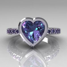 14K White Gold 2.10 Carat Heart Alexandrite Ring