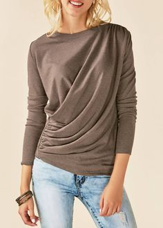 Round Neck Draped Long Sleeve Blouse on sale only US$30.64 now, buy cheap Round Neck Draped Long Sleeve Blouse at liligal.com