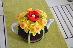 Items similar to Poppy and Daffodil Tea Cosy on Etsy Knitted Poppies, Knitted Flowers, Knitted Tea Cosies, Tea Cozy, Daffodils, Cosy, Free Crochet, Free Pattern, Etsy Shop