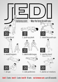Jedi Workout / works: Calves, chest, forearms, triceps, biceps, deltoids, glutes, lateral abs, adductors, abs, core.