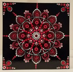 Dot Mandala: Red Awakening. Acrylic on 10x10x1.5 canvas