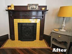 DIY: Tiling Fireplaces-I would pick a different color of tile, but it is a pretty mantle.