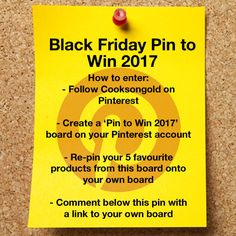 Fancy winning 1 of 3 Cooksongold Goody Boxes? Then this is your chance, with Cooksongold's Black Friday Weekend Pin to Win competition!