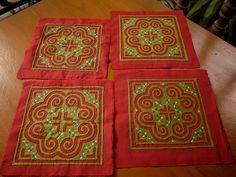 Handmade applique Hmong textile for patchwork