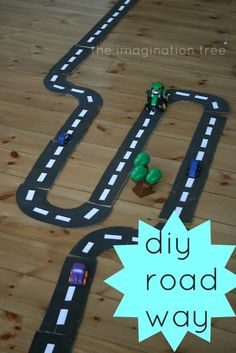 Make a homemade road-way for hours of imaginative play on the go, from a recycled cardboard box!