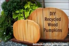 recycled wood pumpkins from old lumber