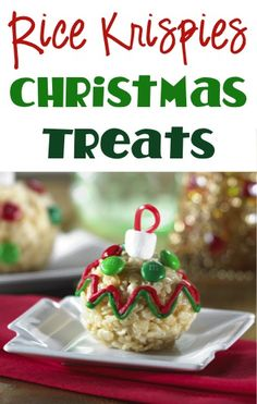 Rice Krispies Christmas Treats Recipe! ~ such a fun Christmas twist on your favorite Rice Krispie treats! #dessert #recipes