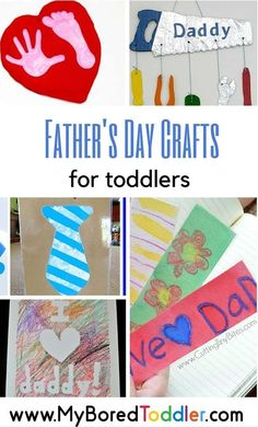 toddler father's day crafts. If you are looking for activities and crafts for your baby or toddler for father's day you'll love this collection of 18 great Father's Day crafts - simple enough for your toddler to make. From My Bored Toddler www.myboredtodd