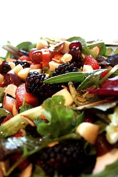 Fresh Berry Apple Salad with Sugar and Cinnamon Spiced Almonds....