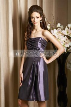 Strapless Knee-Length Pleated Bodice Flower Bridesmaid Dress(Free Shipping)
