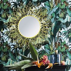 TIJUANA metal mirror in yellow D 95 cm