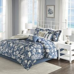 Madison Park King 7 Piece Cotton Sateen Comforter Set in Blue - Olliix your bedroom with the coastal style of the Madison Park Cape Cod 7 Piece Cotton Sateen Comforter Set. Charming coastal motifs adorn the beautiful blue comforter, while Queen Size Comforter Sets, King Size Comforters, Blue Comforter, King Duvet Cover Sets, Bedding Sets, Beach Comforter, Pillow Covers, Coastal Bedding, Luxury Bedding