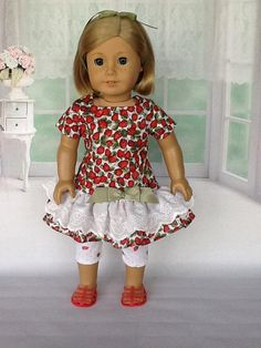 18 inch doll dress and leggings. Fits American Girl dolls. Daisy Kingdom Strawberries Allover double ruffled dress.
