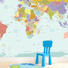 Create A Stunning Feature Wall In Your Kids Room With Our Colourful World Map Wallpaper