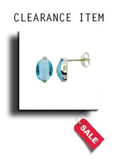Silver & Blue Topaz Cubic Zirconia Stud Earrings - BP0029