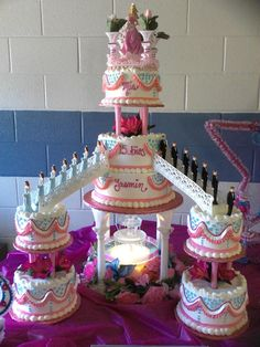 hot pink and baby blue quince cake Quinceanera Cakes, Quinceanera Decorations, Beautiful Wedding Cakes, Beautiful Cakes, Sweet 15 Cakes, Fountain Wedding Cakes, Cake Table Decorations, Stage Decorations, Bling Wedding Cakes
