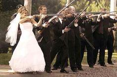 Groomsmen an bride