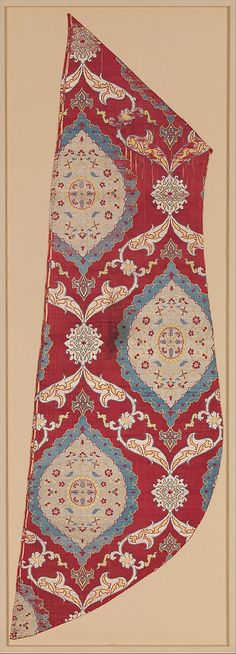 Fragment  16th century  Turkey, Bursa  medium:  silk, metal wrapped thread  One of the most popular designs for textiles in the Ottoman court.