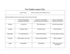 Preschool Curriculum Themes | Toddler Lesson Plan Template ...