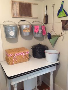 Galvanized buckets as storage-  one for canning stuff, one for gardening and harvesting, and one for cleaning :)
