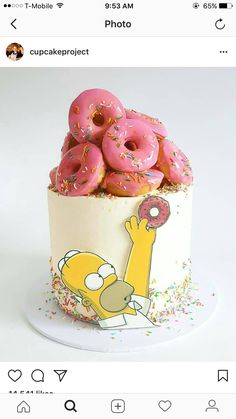 😂😂😂😂 Bolo by Bolo Simpsons, Simpsons Party, Bolo Cake, Crazy Cakes, Just Cakes, Novelty Cakes, Drip Cakes, Pretty Cakes, Creative Cakes