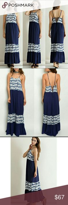 Lace Up Back Maxi Dress Lace up back maxi dress Spaghetti adjustable string straps 100% rayon Dresses Maxi