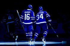 Mitch Marner & Auston Matthews Action Photo Print x Hot Hockey Players, Nhl Hockey Jerseys, Nhl Players, Ice Hockey, Toronto Maple Leafs Wallpaper, Mitch Marner, Canada Hockey, Maple Leafs Hockey, Hockey Boards