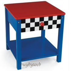 Kidkraft 76041 Kids Racecar Toddler Bed Side Table Race Car End Table New