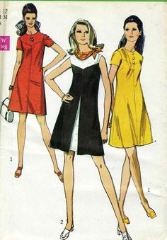 Vintage Simplicity 8638 UNCUT Misses Geometric Summer Dress