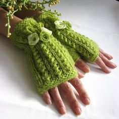 A Sense of Spring. Lime Green Fingerless Gloves, Wool Mohair Mittens with ribbon flowers, Hand Knitted by Rumina Bonnet Crochet, Crochet Mittens, Crochet Gloves, Knit Crochet, Hand Knitting, Knitting Patterns, Bracelet Crochet, Fingerless Mitts, Wrist Warmers