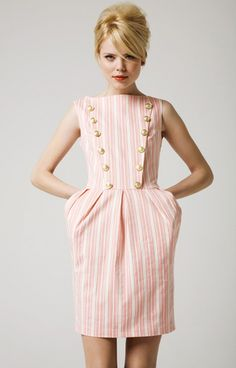 retro stripe dress pink and white with buttons