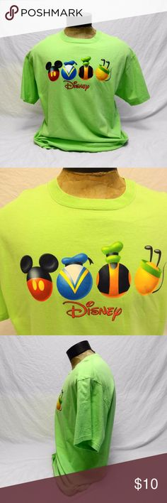 Disney Fab Four Orb Lime Green T-Shirt (M/F) Gently-owned uni-sex Disney lime green t-shirt featuring orbs of the Big D Fab Four, Mickey, Donald, Goofy and Pluto, with small letter J on back collar (see photos), otherwise item is in good, clean condition. Disney Shirts Tees - Short Sleeve