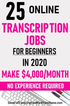25 Online Transcription Jobs for Beginners - Finance tips, saving money, budgeting planner Ways To Earn Money, Earn Money From Home, Earn Money Online, Make Money Blogging, Way To Make Money, Saving Money, Legit Work From Home, Legitimate Work From Home, Work From Home Jobs