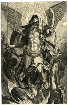 Print made by Raphael Sadeler II  after Pieter de Witte.  1604.   St Michael in armour at centre, standing on the dragon whose last breath escapes from his mouth, the archangel holding a sword in his right hand and a balance in his left hand; lower margin with date and inscription cut
