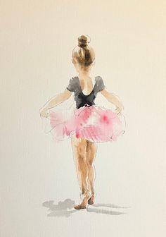 Ballerina Painting, Ballerina Art, Ballet Art, Ballet Drawings, Dancing Drawings, Art Drawings Sketches, Watercolor Girl, Watercolour Painting, Painting & Drawing