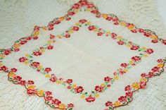 Vintage Hankie Butterflies and Flowers G-38 by annswhimsey on Etsy