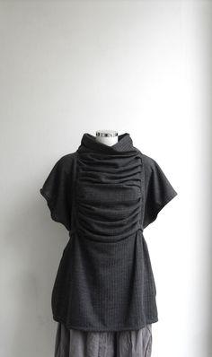 Iron Lady - Draped Blouse - Vest - Top - Tank - Tunic - Gray Stone - One Size Fits All - Maternity - Plus Size - Adjustable. $65.00, via Etsy.