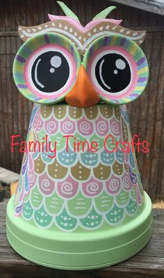 Whimsical Clay Pot Owl made by Family Time Crafts. Follow us on Facebook
