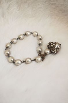 Vintage Faux Baroque Pearl Bracelet with Gold by MirandasBridal