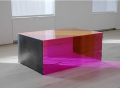 Untitled March 8, 1965 Red fluorescent Plexiglas and stainless steel 20 x 48 x 34 inches (50.8 x 122 x 86.4 cm) Art © Judd Foundation. Licensed by VAGA, New York, NY. Courtesy of David Zwirner, New York/London
