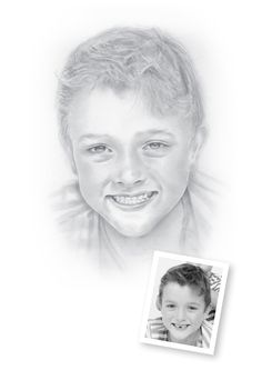 """Pencil Portraits of Boys - Harvey.  """"Harvey just seen it... """"Hey that's me!""""  then off he went... think that means he likes!""""   Lisa, Auckland, NZ"""