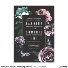 Shop Romantic Botanic Wedding Invitations Set V 02 created by ZebraPress. Electronic Wedding Invitations, Purple Wedding Invitations, Floral Wedding Invitations, Wedding Invitation Cards, Custom Invitations, Invites, Wedding Stationery, Romantic Artwork, Pagan Wedding