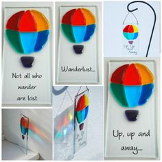 Fused Glass Rainbow Hot Air Balloon
