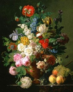 Jan Frans van Dael (Flemish Painter, 1764-1840) Vase with Flowers, Grapes and Peaches 1810