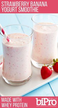 Strawberry Banana Yogurt Smoothie with Whey Protein Recipe