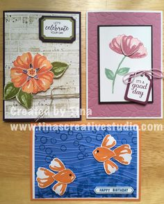 Card class using Bunch of Blossoms stamp set and matching punch from Stampin' Up!  #stampinup #papercraft #cardmaking #stamping #tinascreativestudio